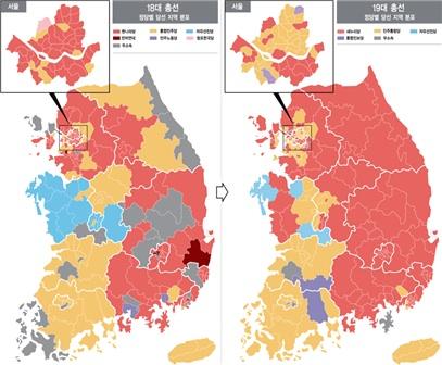 18대 총선과 19대 총선의 비교. 출처: 경향신문