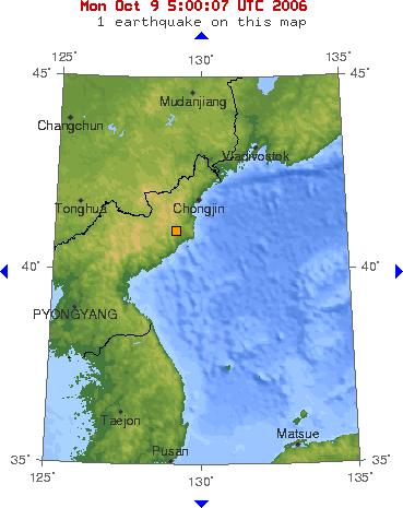 2006년 북핵 실험 지역과 시각  제작 출처: 미국 지질조사국(USGS)