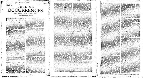 미국 땅에서 발행된 최초의 신문이라고 할 수 있는 <Publick Occurrences> (1690년).