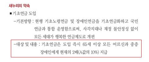 """""""어르신 소득 안정 위해 기초연금 도입"""" 새누리당 18대 대선 공약집 (57쪽)"""