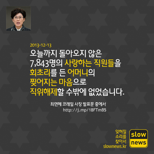 2013년 잊기 어려운 '잊소리'를 남긴 최연혜 코레일 사장