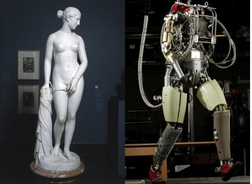 고대 그리스 아테네의 민주주의는 여성 노예들의 노동에 기반을 둔 극소수의 민주주의였다. 알고리즘과 로봇은 인간을 노동으로부터 해방할 수 있게 할까?  (사진: Hiram S. Powers, 그리스 노예, 1869년 작, 브룩클린박물관 / 보스턴다이나믹스의 신세대 로봇 '펫맨')