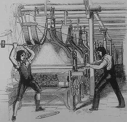 러다이트 운동(기계파괴 운동)을 묘사한 그림 (출처: 퍼블릭도메인)