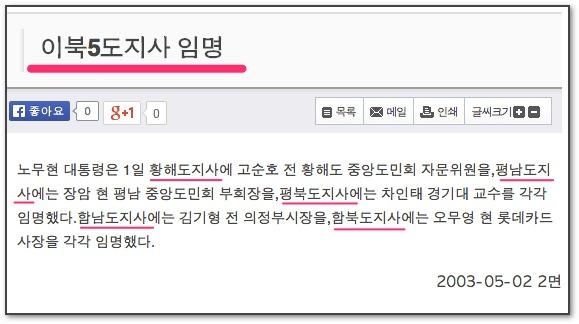 2003년 이북5도지사 임명 기사 (출처: 서울신문)