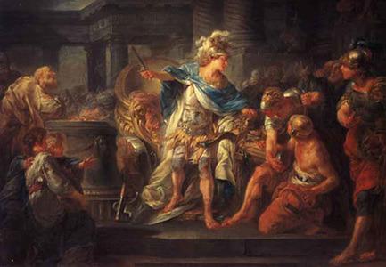 고르디우스의 매듭을 자르는 알렉산드로스 대왕 Alexander Cutting the Gordian Knot>, 장 시몽 베르텔레미가 캔버스에 그린 유화
