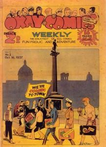 아이스너 앤 아이거가 만화를 공급해 만들어진 OKayComics 표지