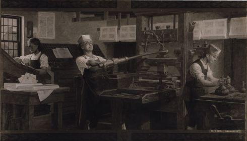 인쇄공으로 일하고 있는 벤저민 프랭클린(가운데). 미국의 국부 중 한 명으로 추앙받는 프랭클린은 한 때 펜실베이니아 가제트란 신문을 운영하기도 했다. (사진: 퍼블릭 도메인)