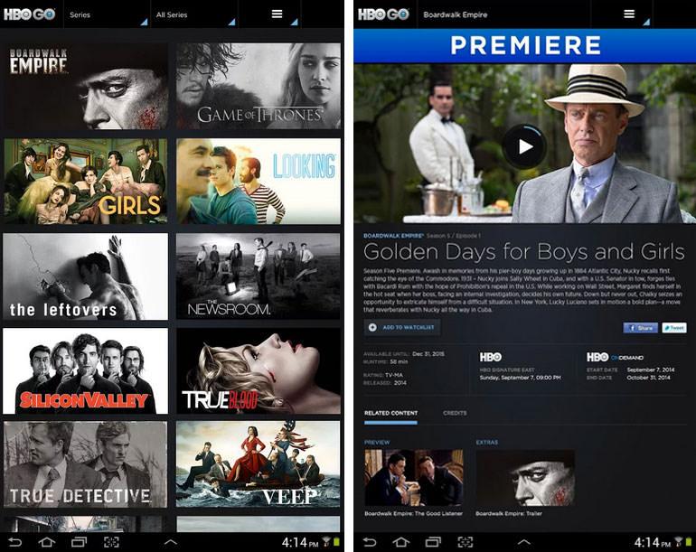 HBO GO 모바일 화면