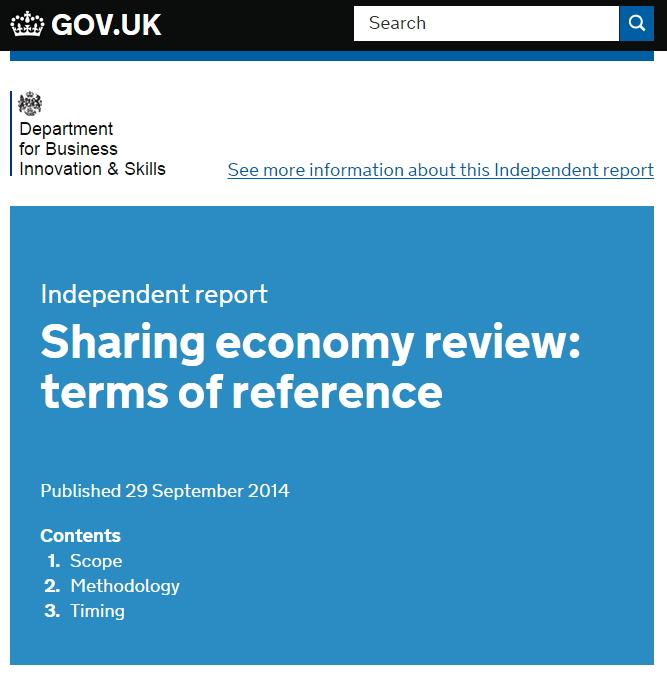 영국정부에서 발표한 '공유경제 리뷰'