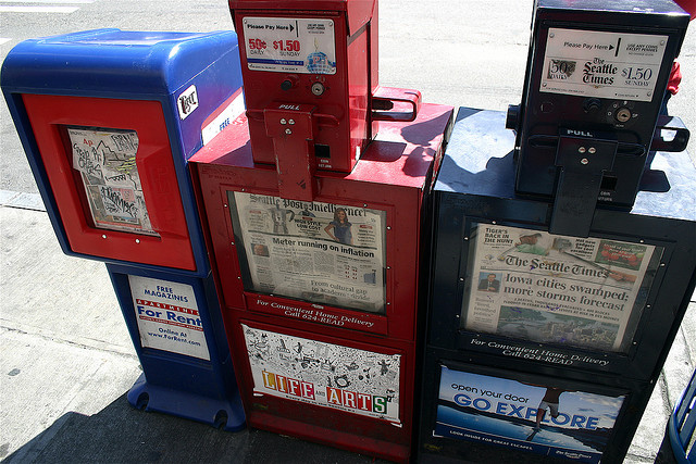 https://flic.kr/p/4Wk6sM  George Kelly, Local newspaper vending machines, CC BY