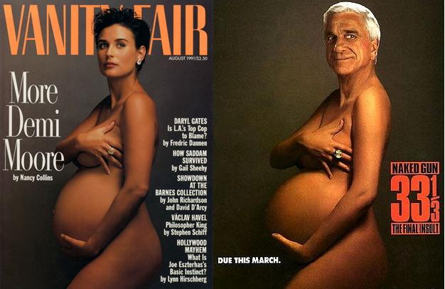 애니 리보비츠가 찍은 데미 무어(베티니 페어 표지사진)과 영화 [총알탄 사나이]의 광고 사진