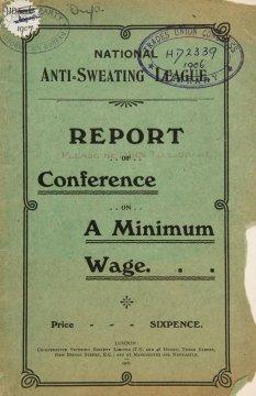 1906년 10월 영국 런던에서 발간된 법정 최저임금에 관한 보고서