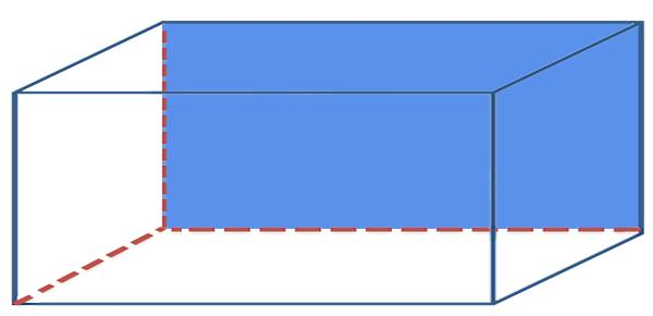 한쪽 면이 파란 직육면체