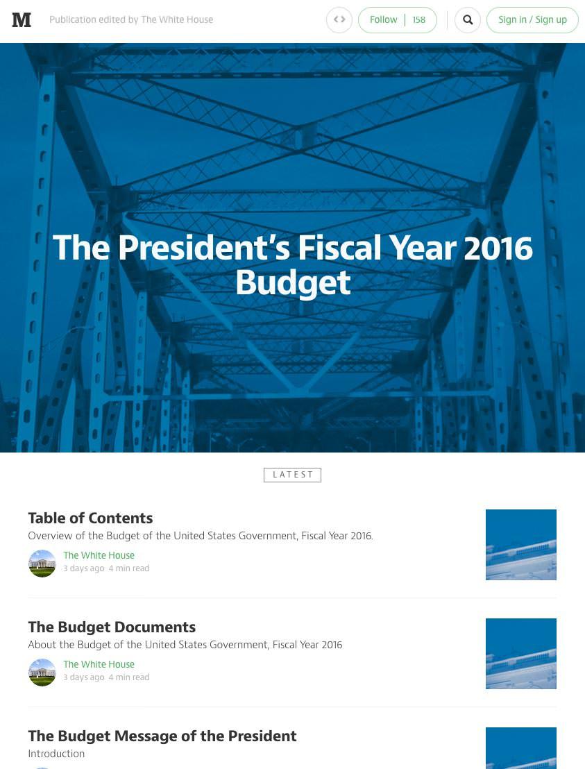 2016년 예산안의 상세 내용은 미디엄에 공개를 했다