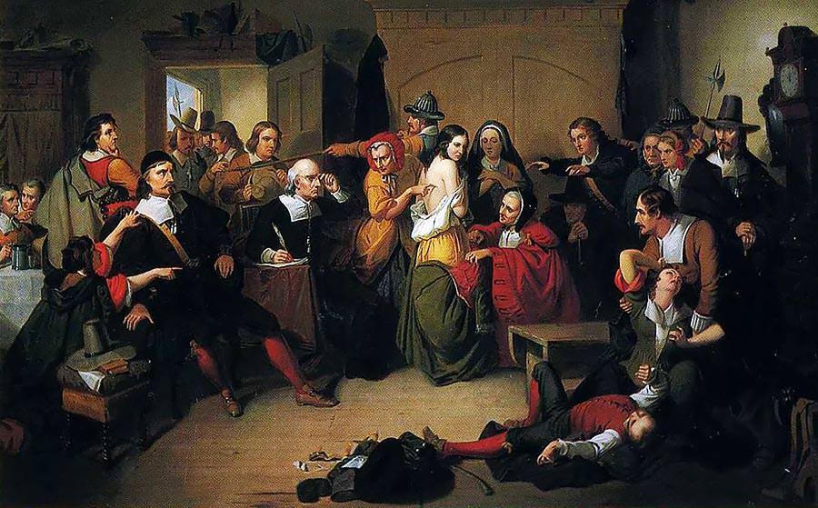 """""""여기 이 마녀에게는 '눈에 보이지 않는' 악마의 표식이 있다!"""" (톰킨스 해리슨 매트슨의 """"Examination of a witch"""" , 1853년)"""