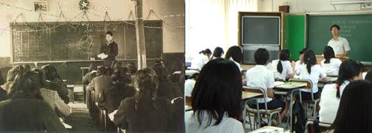 1970년대의 교실과 2010년의 교실
