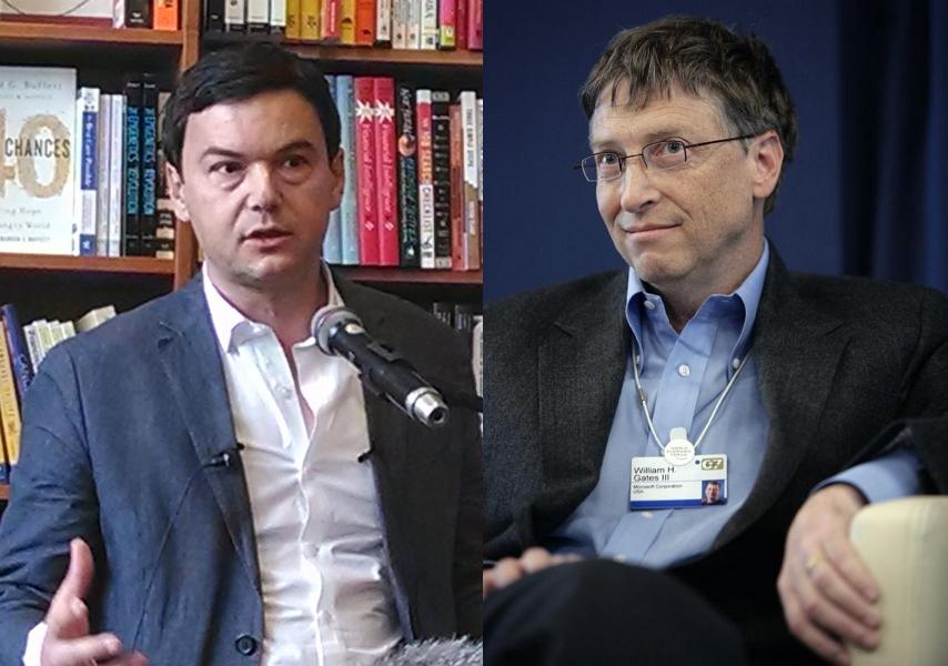 토마 피케티(좌), 빌 게이츠(우) (출처: 피케티, 게이츠 각각 CC BY SA 2.0)  http://en.wikipedia.org/wiki/Capital_in_the_Twenty-First_Century#mediaviewer/File:Piketty_in_Cambridge_3_crop.jpg http://ko.wikipedia.org/wiki/%EB%B9%8C_%EA%B2%8C%EC%9D%B4%EC%B8%A0#mediaviewer/File:Bill_Gates_World_Economic_Forum_2007.jpg