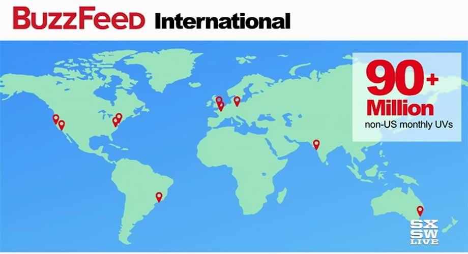 버즈피드 - 미국을 제외한 전 세계에서 9천만 이상의 UV가 나오고 있다.