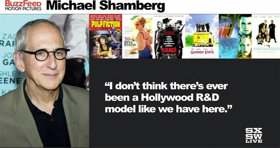 """버즈피드 - 마이클 샘버그는 """"우리가 버즈피드에서 하고 있는 것과 같은 헐리우드 R&D 모델은 여태 없는 것 같다""""고 말했다."""