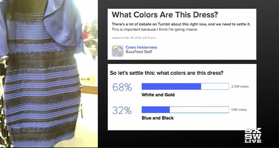 버즈피드 - 드레스 색깔 논쟁 (흰금 vs. 파검)