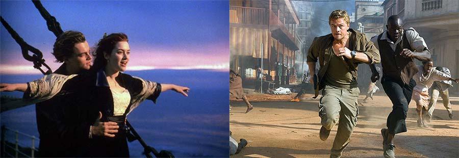 """[타이타닉] 때만 해도 """"영화는 좋은데 배우는 별로"""" 였다가…  나중엔 정말 좋아하는 배우가 됐다. (왼쪽은 [타이타닉], 오른쪽은 [블러드 다이아몬드])"""