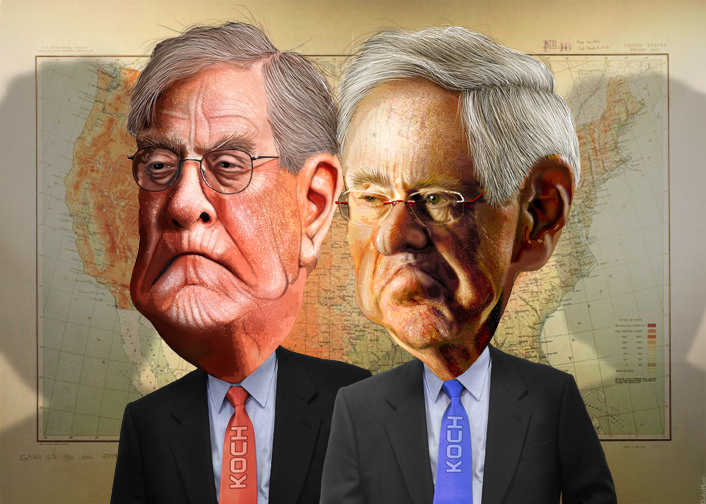 "코크 형제(출처: DonkeyHotey, ""Charles and David Koch - The Koch Brothers"", CC BY) https://flic.kr/p/ryoZz5"