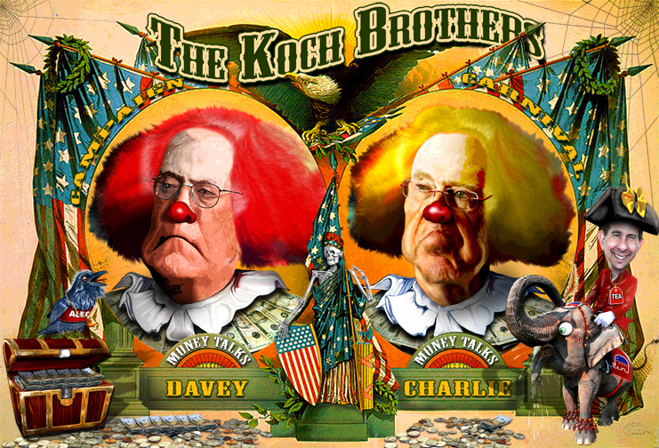 "DonkeyHotey, ""Koch Brothers Campaign Circus Hires A New Pitchman - Scott Walker"", CC BY  https://flic.kr/p/rXwzJS"