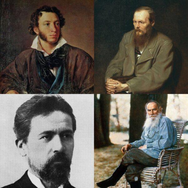 왼쪽 위부터 시계방향으로 알렉산드르 푸시킨, 표도르 도스토옙스키, 레프 톨스토이, 안톤 체호프