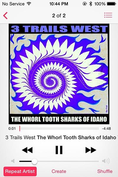"""컨트리 밴드인 쓰리 트레일스 웨스트의 """"아이다호의 소용돌이 이빨 상어(The Whorl Tooth Sharks of Idaho)"""""""