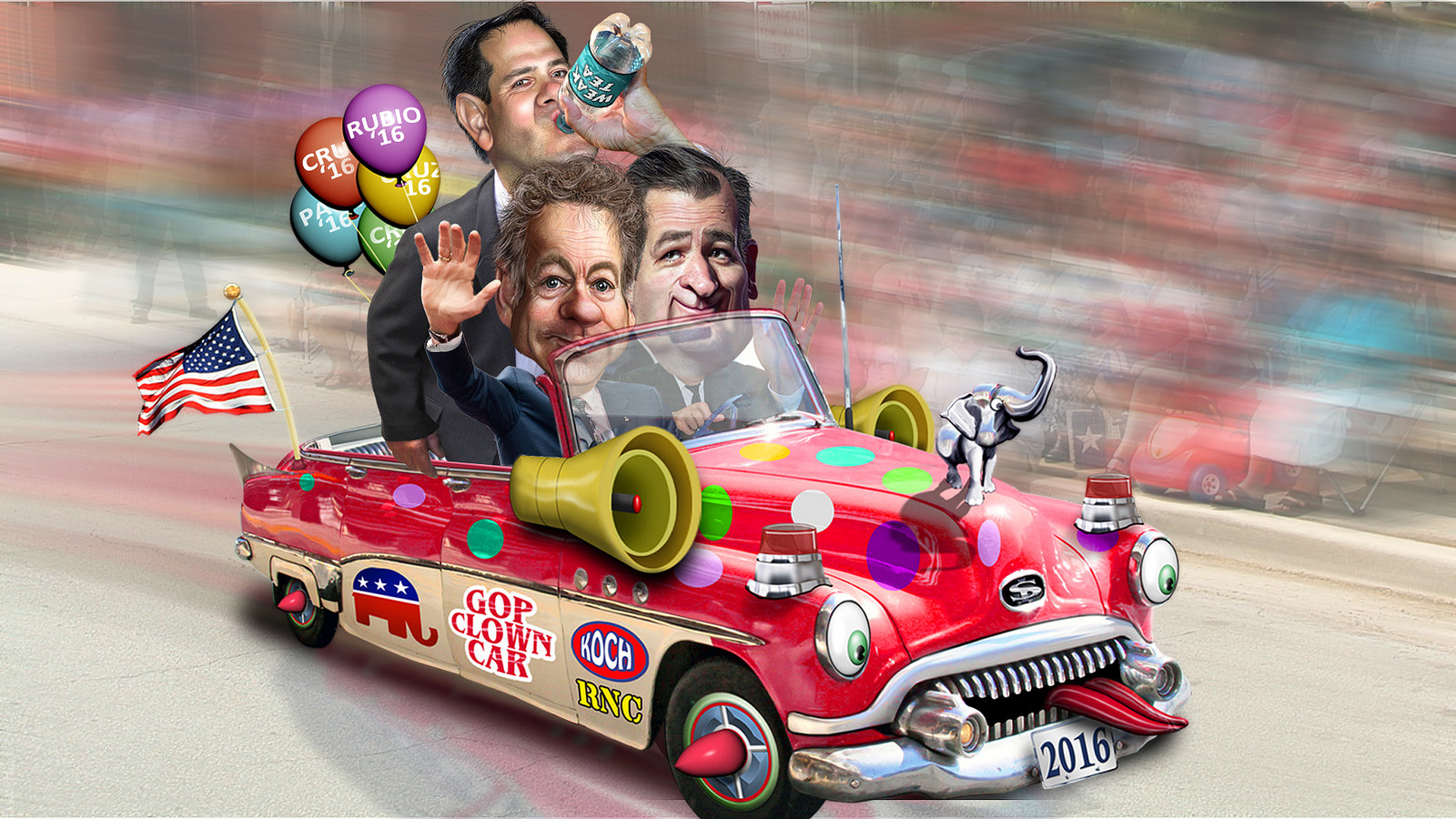 "DonkeyHotey, ""Marco Rubio, Rand Paul & Ted Cruz in the Republican Clown Car"", CC BY https://flic.kr/p/sa7zBB"