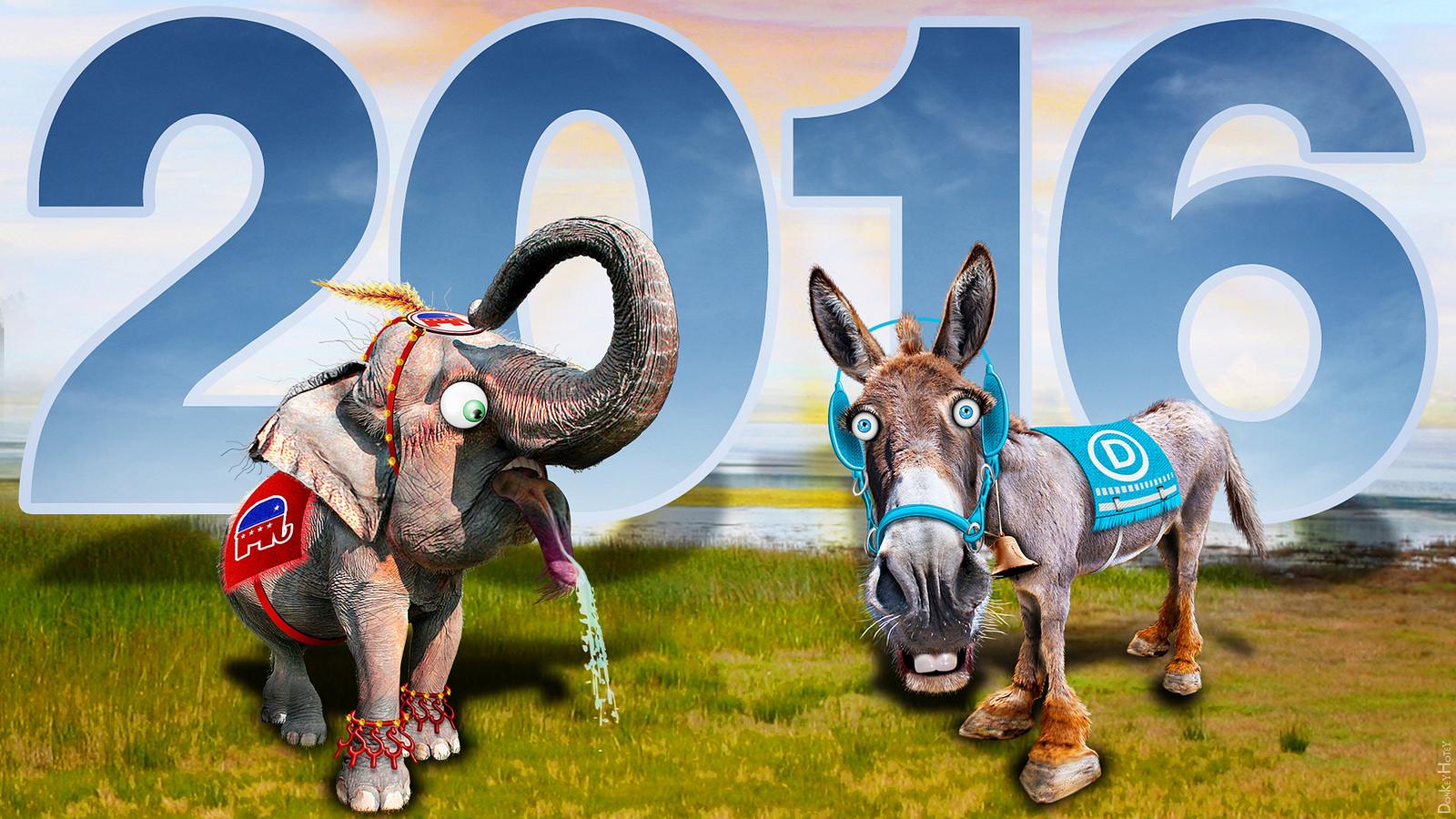 공화당의 상징 코끼리와 민주당의 상징 당나귀 (출처: DonkeyHotey, Republican Elephant & Democratic Donkey 2016, CC BY SA) https://flic.kr/p/rfqjvv