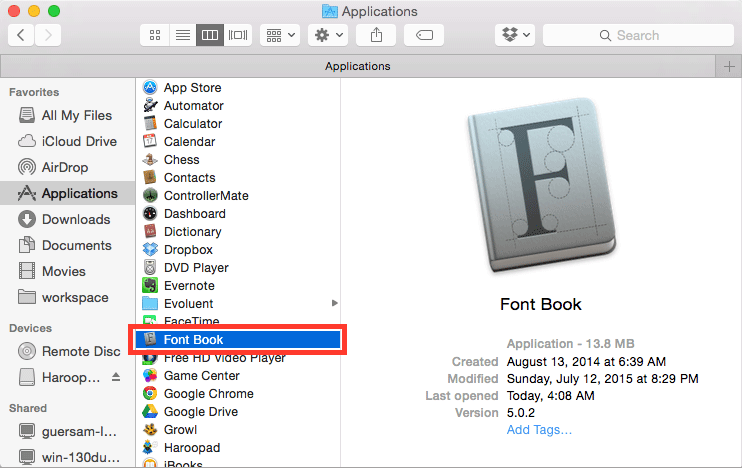 OS X에서 서체 관리자 실행