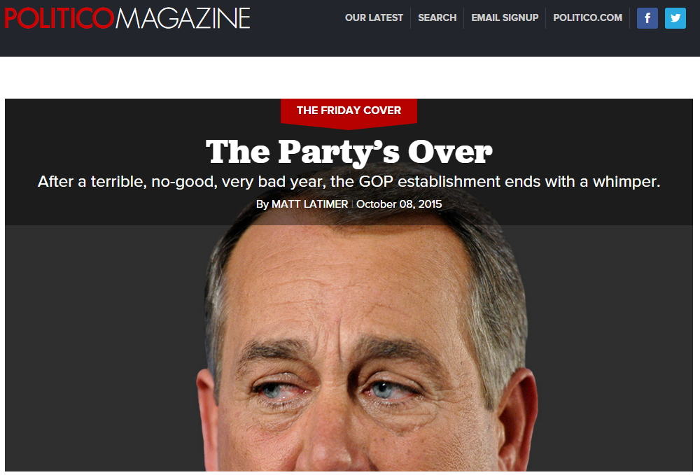 """POLTICO - """"The Party's Over"""", 2015. 10. 8. http://www.politico.com/magazine/story/2015/10/kevin-mccarthy-end-of-gop-213232"""