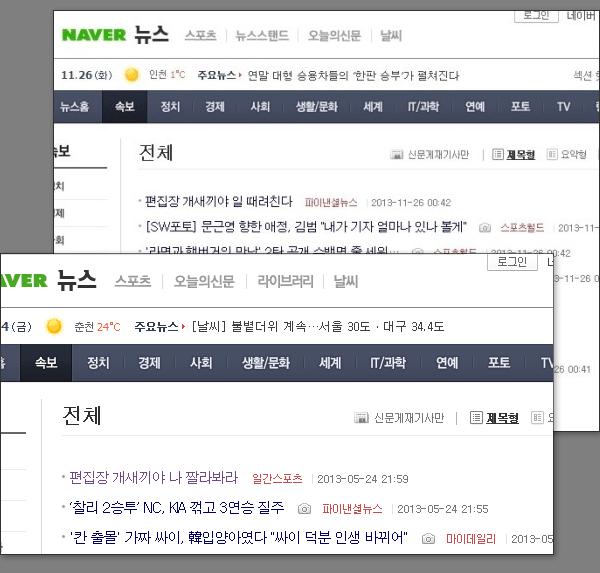 파이낸셜뉴스와 일간스포츠의 네이버 기사 송고 해프닝
