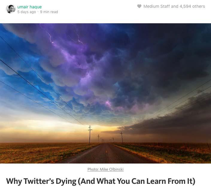트위터는 왜 죽어가고 있나 (그리고 당신은 여기에서 무엇을 배울 수 있나)