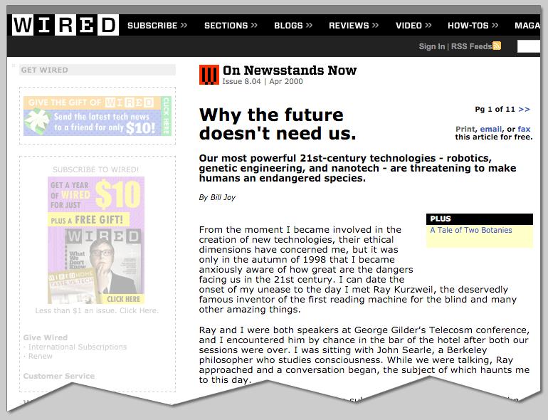 와이어드 - 왜 미래는 우리를 필요로 하지 않는가