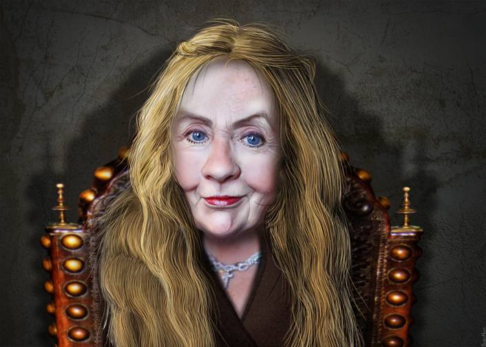 "DonkeyHotey, ""Cersei Lannister Clinton - Caricature"", CC BY https://flic.kr/p/ALZupX"