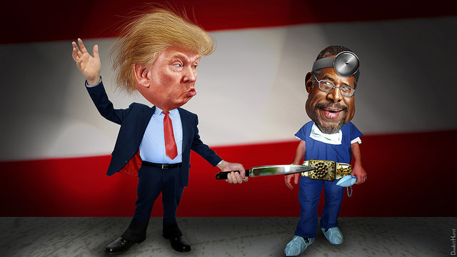 DonkeyHotey, Donald Trump Stabbing Ben Carson in the Belt Buckle, CC BY SA https://flic.kr/p/AajkrB