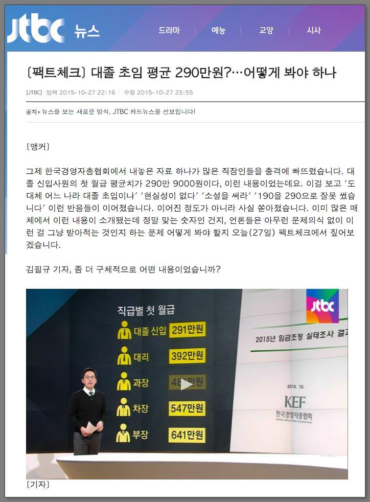 JTBC 뉴스룸 - [팩트체크] 대졸 초임 평균 290만원?…어떻게 봐야 하나