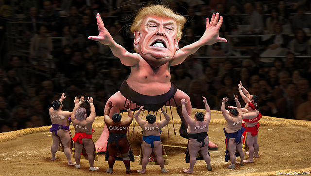 DonkeyHotey, Yokozuna Trump Towers Over His Challengers, CC BY SA https://flic.kr/p/BaVChH