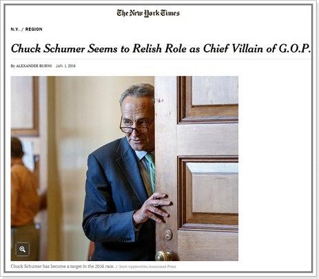 공화당의 최고 악당으로 양념 역할을 할 것으로 보이는 척 슈머(출처: 뉴욕타임스) http://www.nytimes.com/2016/01/02/nyregion/chuck-schumer-is-the-democrat-the-gop-loves-to-hate-in-2016.html?_r=1