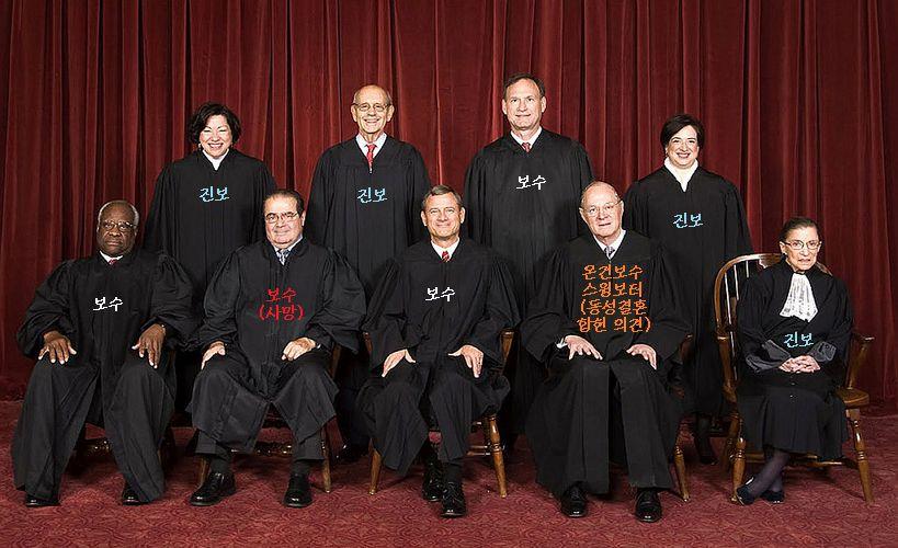 미국 연방대법관(2010년 10월~3016년 2월) 앞줄 왼쪽부터 오른쪽 순으로: 클래런스 토마스(Clarence Thomas), 안토닌 스칼리아(Antonin Scalia) †, 존 로버츠(John Roberts, 연방 대법원장), 앤서니 케네디(Anthony Kennedy), 루스 베이더 긴즈버그(Ruth Bader Ginsburg). 뒷줄 왼쪽부터 오른쪽 순으로: 소냐 소토마이어(Sonia Sotomayor), 스티븐 G. 브레이어(Stephen G. Breyer), 새뮤얼 A. 앨리토(Samuel A. Alito), 엘레나 카간(Elena Kagan).