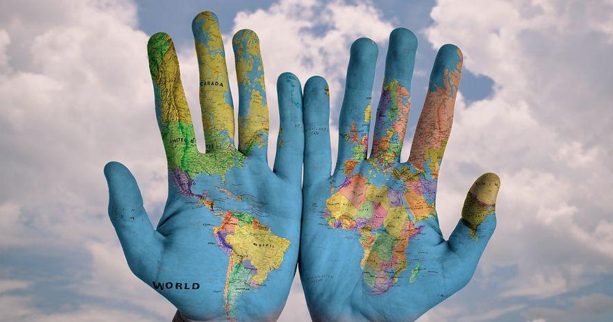 세계 글로벌 손바닥 손 지도