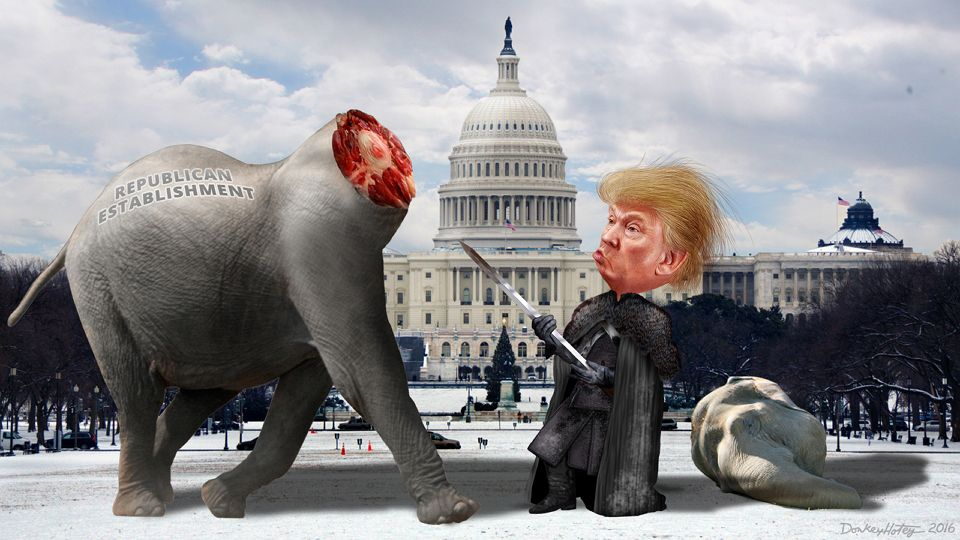 DonkeyHotey, Lord Commander Trump Decapitates the Establishment Republicans, CC BY SA https://flic.kr/p/CYBUZJ