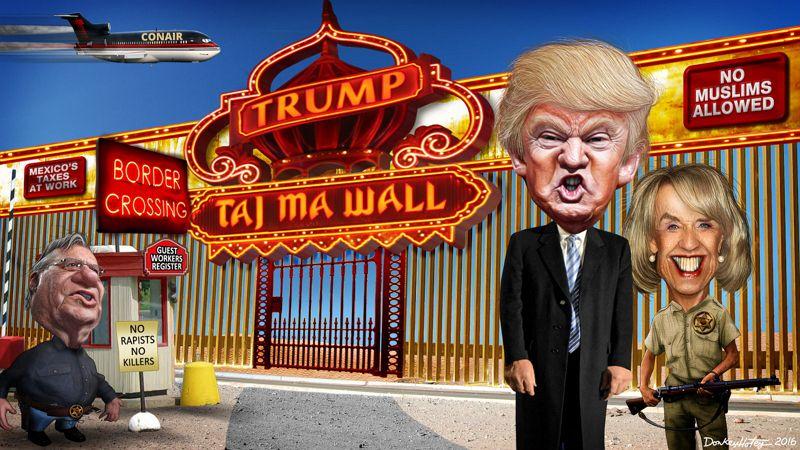 "DonkeyHotey, ""Donald Trump's Taj Ma WALL"", CC BY SA https://flic.kr/p/FnQ2cC"