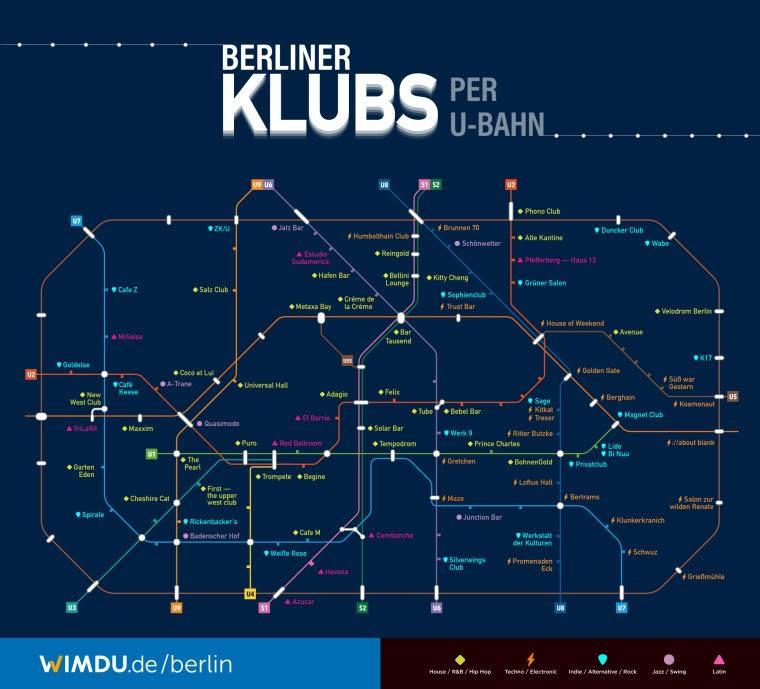 WIMDU에서 만든 베를린 클럽 지도. 지도는 유명 클럽만을 대상으로 한 것이고, 언더그라운드 클럽까지 하면, 수 백개에 달한다. http://wimdu.de/berlin