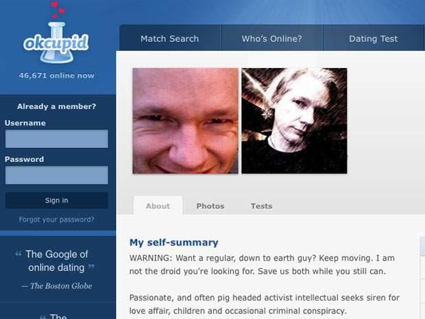 데이트 웹사이트, 오케이큐피트에서 활동했던 줄리안 어샌지.