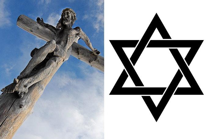 이슬람 상징뿐만 아니라 십자가와 다윗의 별도 금지된다.