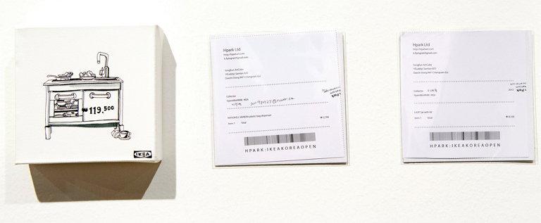 송은아트큐브에서 전시했던 프로젝트 작품과 판매 영수증 (사진 제공: 박혜민)