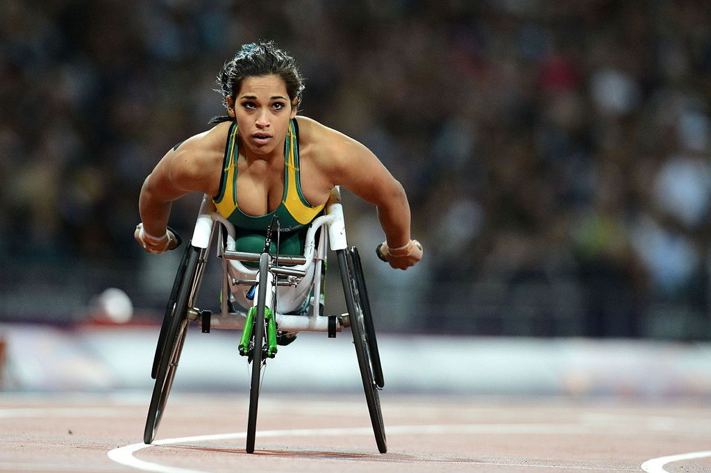 "Australian Paralympic Committee, ""de Rozario at the 2012 London Paralympics"", CC BY SA 3.0 https://en.wikipedia.org/wiki/Madison_de_Rozario#/media/File:070912_-_Madison_de_Rozario_-_3b_-_2012_Summer_Paralympics.JPG"
